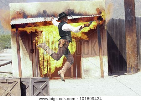 A Cowboy Stuntman Performs At Old Tucson