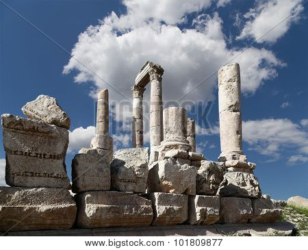 Temple of Hercules Roman Corinthian columns at Citadel Hill Amman Jordan poster
