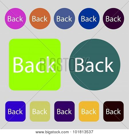 Arrow Sign Icon. Back Button. Navigation Symbol. 12 Colored Buttons. Flat Design. Vector
