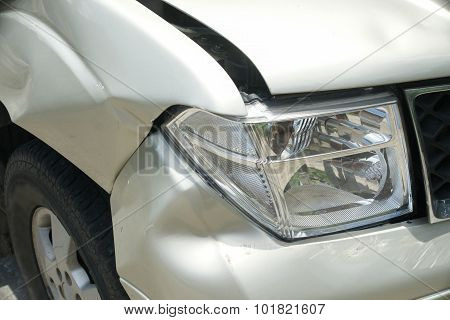 A Dent On The Right Front Of A Pickup Truck (damage From Crash Accident)