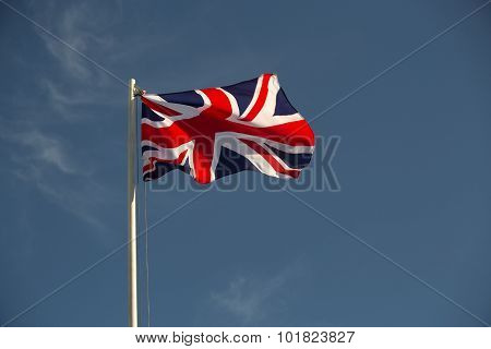Great Britain Flag In Evening Light