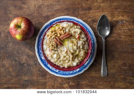 Rustic Oatmeal With Apple And Pecans