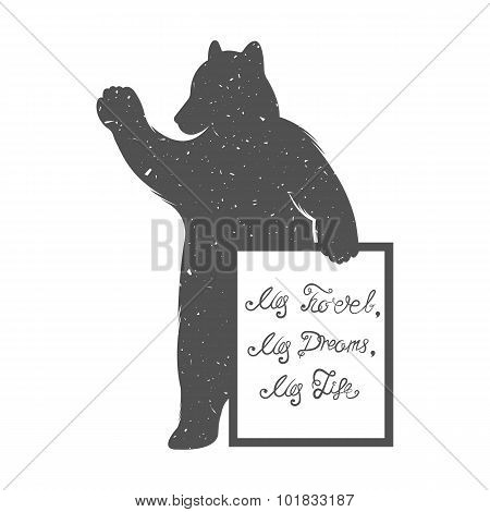 Vector Illustration Bear With Quote