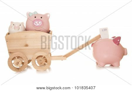 inheritance tax piggybanks studio cut out on a white background