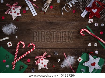Wooden background with christmas and craft elements