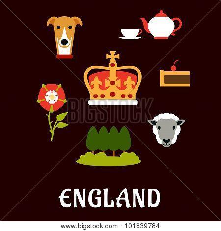 England traditional symbols flat icons