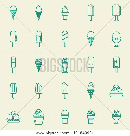 Ice Cream Line Color Icons On Yellow Background