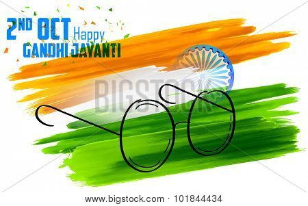 illustration of spectacles on India background for Gandhi Jayanti