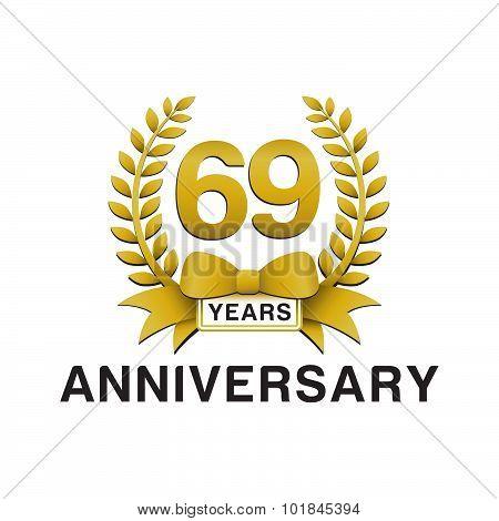 69th anniversary golden wreath logo
