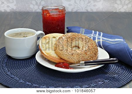Sesame Bagel, Toasted And Buttered With Homemade Strawberry Jam