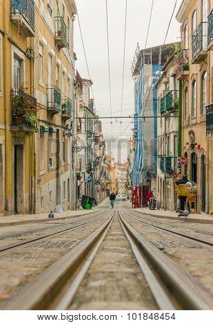 LISBON, PORTUGAL- MARCH 23, 2013: Lisbon's Gloria funicular classified in Bairro Alto in Lisbon, Portugal