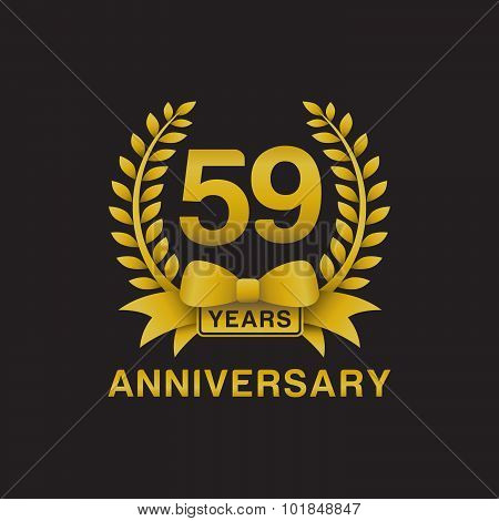 59th anniversary golden wreath logo black background