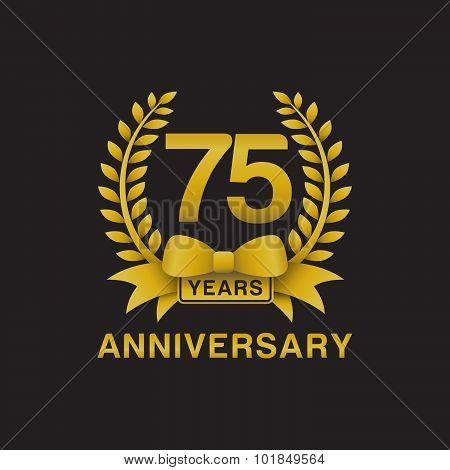 75th anniversary golden wreath logo black background