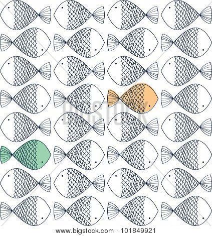 Doodle fish seamless Pattern