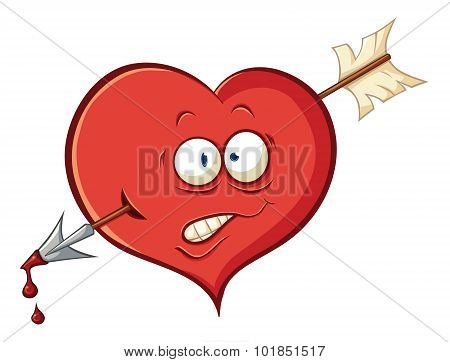 Illustration With Simple Gradients With The Image Of Cute Cartoon Heart Wounded By An Arrow Of Cupid