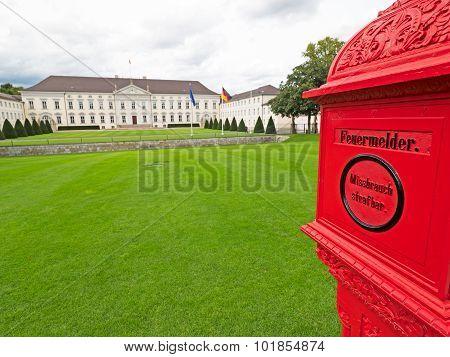 Bellevue Castle In Berlin With Fire Alarm Box