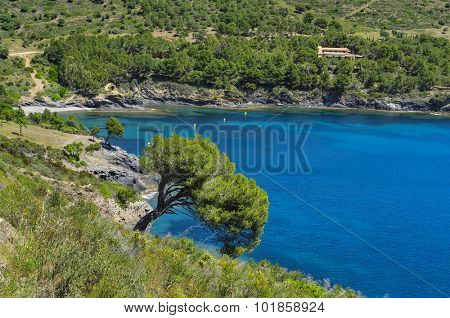 a view of a peaceful cave in the Costa Brava, Catalonia, Spain, with a clear blue seawater