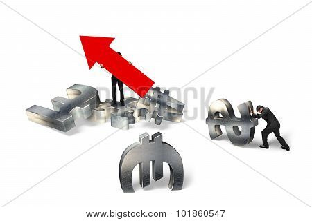 Man Holding Arrow Up Sign Businessman Pushing Currency Symbols