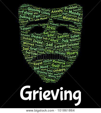 Grieving Word Represents Suffering Woe And Text