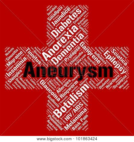 Aneurysm Word Indicates Artery Wall And Afflictions