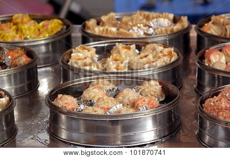 Metal Steamers With Dim Sum Dishes