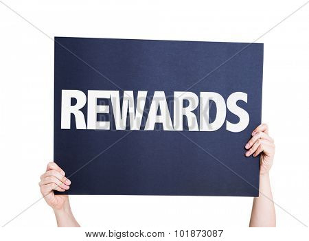 Rewards placard isolated on white