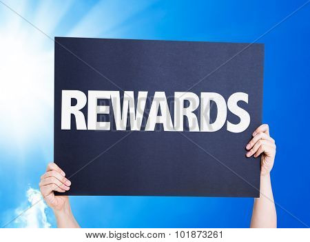 Rewards placard with sky background poster