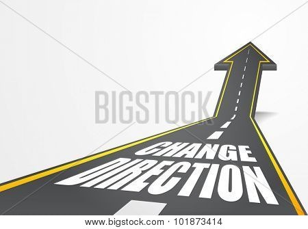 detailed illustration of a highway road going up as an arrow with Change Direction text, eps10 vector