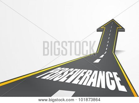 detailed illustration of a highway road going up as an arrow with Perseverance text, eps10 vector