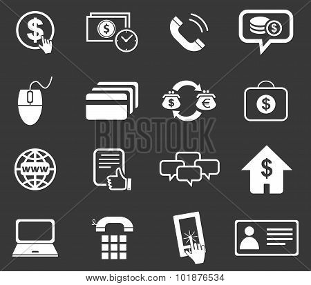 Finance icon set 5, monochrome