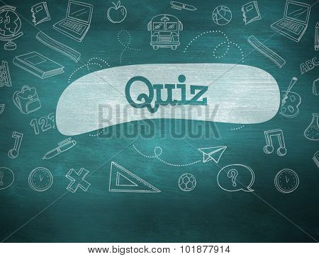 The word quiz and school graphics against green chalkboard poster