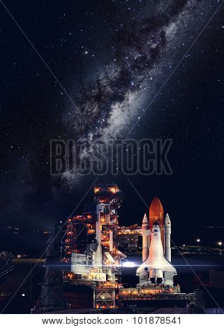 Space shuttle taking off on a mission. Elements of this image furnished by Federalspace.ru. poster