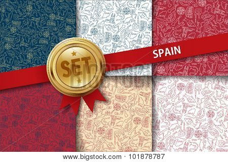 Set of Spain backgrounds with doodle icons in different colors