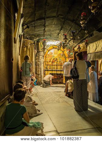 Bethlehem - July 12, 2015: The Traditional Site Of The Birth Of Jesus In Bethlehem's Church Of The N