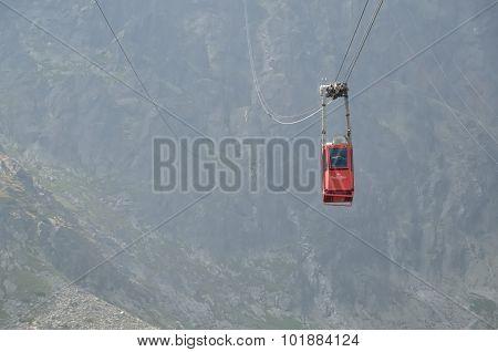 Ropeway from Skalnate Pleso to Lomnicky Peak, Slovakia.