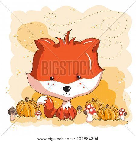 Little cute fox and pumpkins - halloween or thanksgiving card - everything grouped for easy use