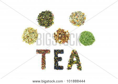 Word TEA with letters made of different tea species isolated on white background poster