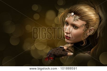 Portrait Of A Blond Lady, 3D Cg