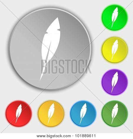 Feather Sign Icon. Retro Pen Symbo. Symbols On Eight Flat Buttons. Vector