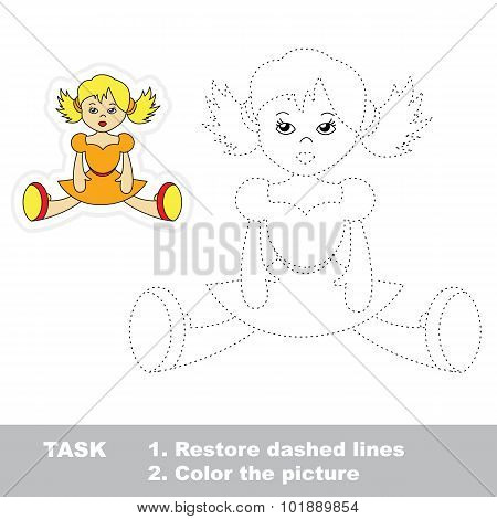 One cartoon doll to be traced. Restore dashed line and color picture. Trace game for children. poster