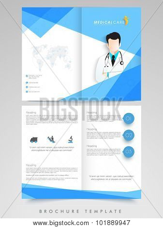 Creative Brochure, Template or Flyer design with illustration of a doctor for Health and Medical concept.