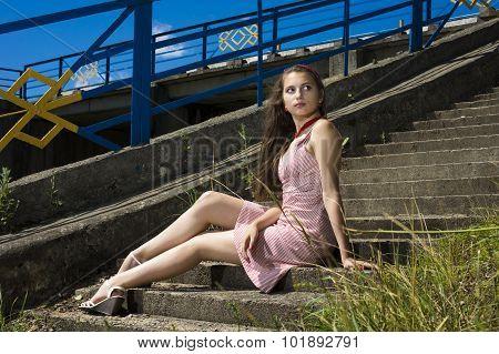 Beauty Vintage Teen Girl Posing Outdoors