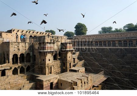 Jaipur, India - December 30, 2014: Tourist Visit Chand Baori Stepwell, Jaipur