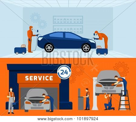 Auto mechanic 2 flat banners set