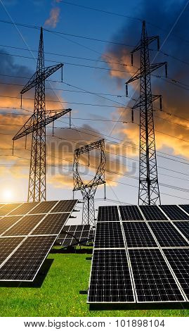 Solar panels with electricity pylons.