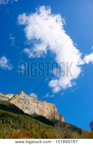 Libro Abierto Wall in the Pyrenees, Ordesa Valley National Park, Aragon, Huesca, Spain.