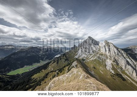 rough rocky mountain summits at tannheimertal and lechtal