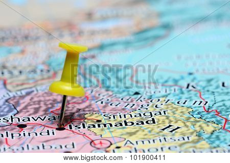 Islamabad pinned on a map of Asia