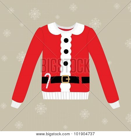 Christmas Sweater On Background With Snowflakes