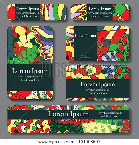 Stock Vector Set Of Busines Card. Decorative Ornament. Doodle Design